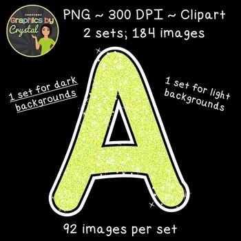 Alphabet Glitter Clipart - Lime