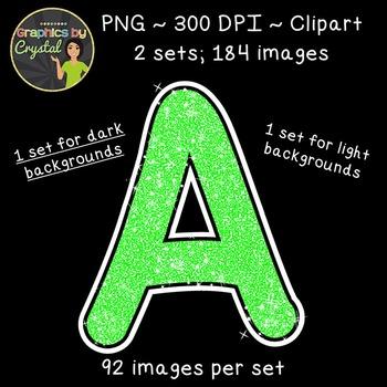 Alphabet Glitter Clipart - Bright Green