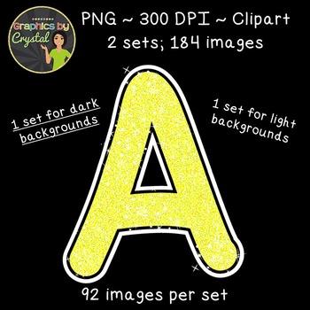 Alphabet Glitter Clipart - Yellow