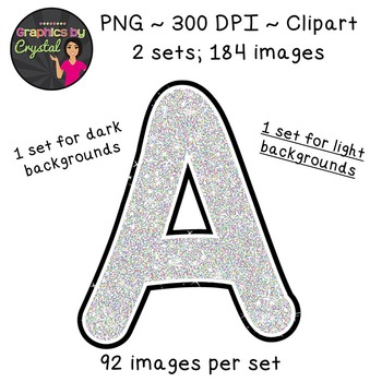 Alphabet Glitter Clipart - Silver