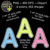 Alphabet Glitter Clipart - Baby Blue, Lime, Pink