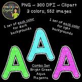 Alphabet Glitter Clipart - Bright Green, Aqua, Magenta
