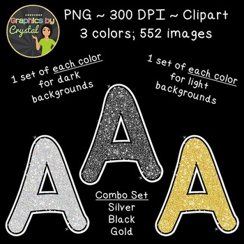 Alphabet Glitter Clipart - Silver, Black, Gold