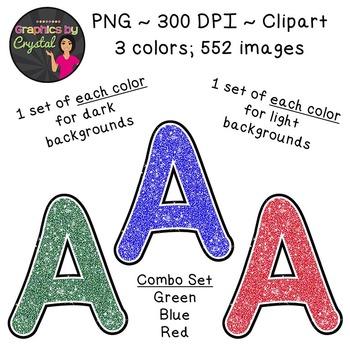 Alphabet Glitter Clipart - Green, Blue, Red