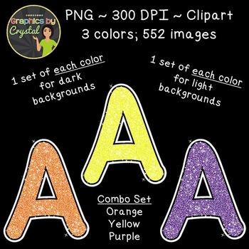 Alphabet Glitter Clipart - Orange, Yellow, Purple