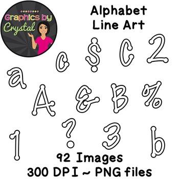 Alphabet Line Art Clipart