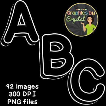 Black & White 3D Alphabet Clipart