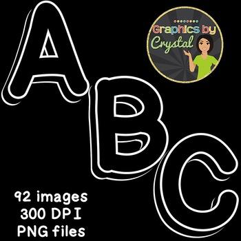 Bulletin Board Letters Black & White 3D Alphabet Clipart