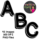 Bulletin Board Letters Black & White 3D Alphabet Clipart
