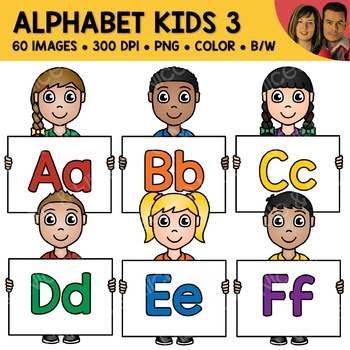 Mixed Alphabet Kids Clipart 3