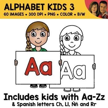 Mixed Alphabet Kids Clipart 3