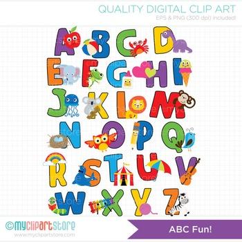 Alphabet Clipart - ABC Fun! (Rainbow colors)