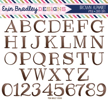 Alphabet Clipart - Brown