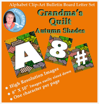Alphabet Clipart Bulletin Board Letter Set Abstract Pattern Autumn Colors