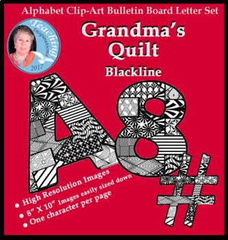 Alphabet Clipart Bulletin Board Letter Set Abstract Pattern Blackline