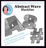 Alphabet Clipart Bulletin Board Letter Set Abstract Wave Pattern