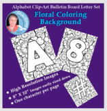 Alphabet Clipart Bulletin Board Letter Set Black-Line Floral Background