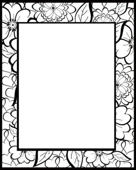 Alphabet Clipart Bulletin Board Letter Set Black-Line Floral Background
