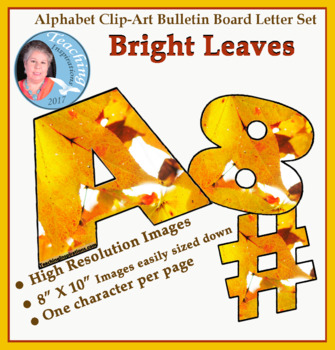 Alphabet Clipart Bulletin Board Letter Set Bright Leaves