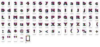 Alphabet Clipart Bulletin Board Letter Set Grandma's Quilt Multi