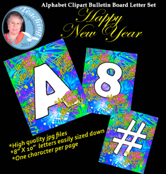 Alphabet Clipart Bulletin Board Letter Set Happy New Year