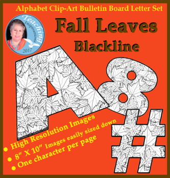 Alphabet Clipart Bulletin Board Letters Fall Leaves Blackline