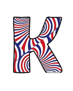 Alphabet Clipart Bulletin Board Letters Patriotic Swirls