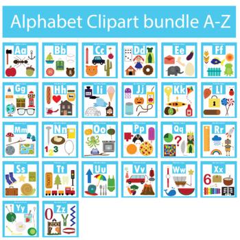 Alphabet Clipart Bundle A-Z Beginning Sounds
