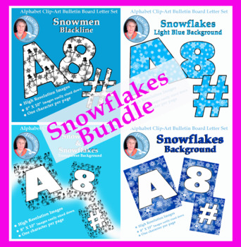 Alphabet Clipart Bundle Snowflakes and Snowmen