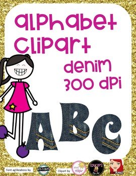 Alphabet Clipart Capital Letters - Denim 300 DPI