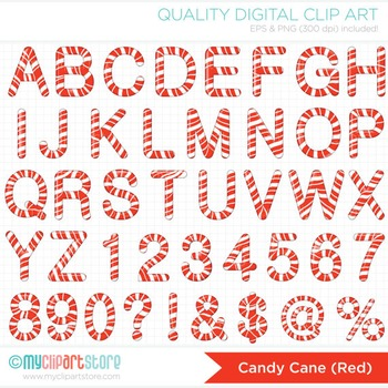 Alphabet Clipart - Christmas / Sweet Candy Cane ABC