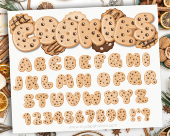 Alphabet Clipart - Christmas / Chocolate Chip Cookie ABC / Milk and Cookies