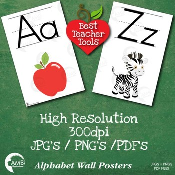 Alphabet Clipart, Classroom Wall Posters, Letters and images, AMB-2021