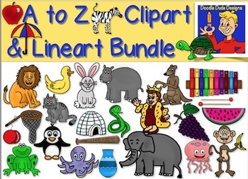 Alphabet Clipart From A to Z: Color and Lineart!