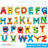 Monster ABC Alphabet Clipart, Primary Colors, letters, aplha, Boy