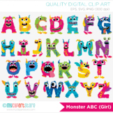Monster ABC Alphabet Clipart, Rainbow Colors, Letters, Girl