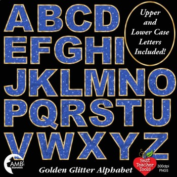 Alphabet Clipart, Glittering Blue and Gold Bokeh Letters Clipart, AMB-2229