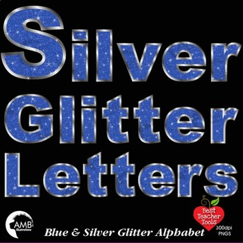 Alphabet Clipart, Glittering Blue and Silver Bokeh Letters Clipart, AMB-2240