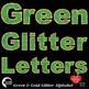Alphabet Clipart, Glittering Green and Gold Bokeh Letters Clipart, AMB-2231