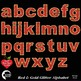 Alphabet Clipart, Glittering Red and Gold Bokeh Letters Clipart, AMB-2226