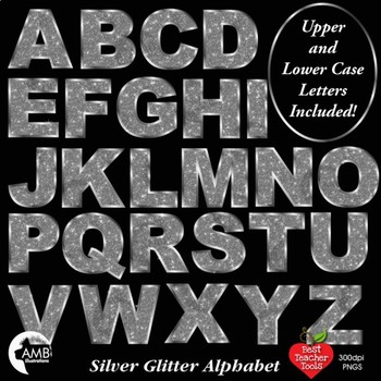 Alphabet Clipart,Glittering Silver Bokeh Letters Clipart, AMB-2232