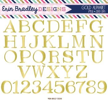 Alphabet Clipart - Gold Foil
