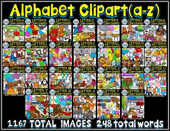 Alphabet Clip art Graphics A-Z-Letter Clipart MEGA BUNDLE Commercial Use