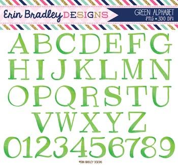 Alphabet Clipart - Green
