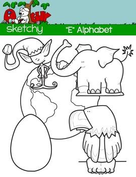 """Alphabet Clipart Letter """"E"""" Graphics - Clip art"""
