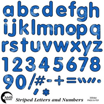 Alphabet Clipart, Striped Letters and Numbers and Symbols in Blue AMB-2432-1