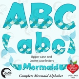 Alphabet Clipart, Mermaid Letters and Numbers in Blue and Green AMB-2355