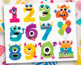 Alphabet Clipart - Monster Numbers (Girl)
