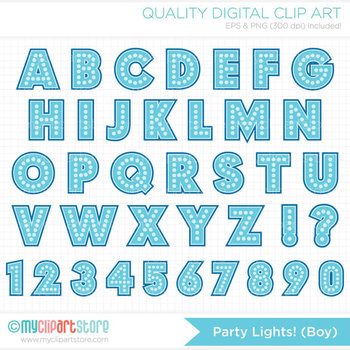 FREE Alphabet Clipart - Party Lights (Boy) / Dotted Letters