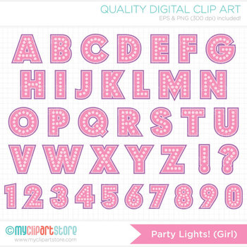 FREE Alphabet Clipart - Party Lights (Girl) / Dotted Letters